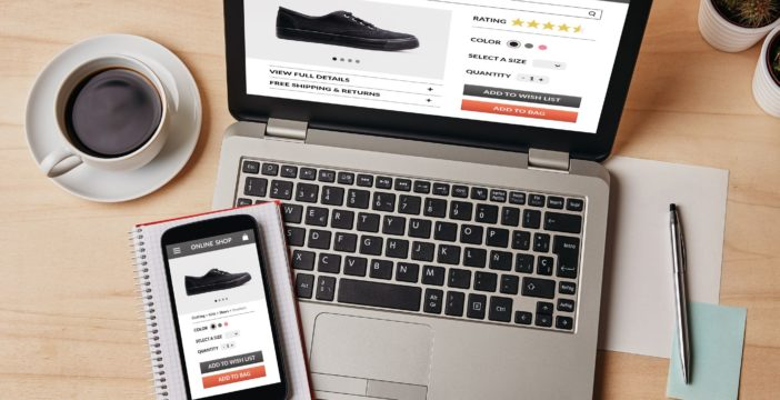 viewing an -ecommerce website on laptop and on mobile phone