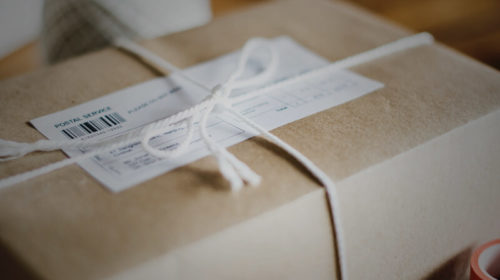 package in brown wrapping